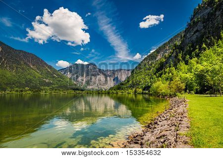 Mountain Lake Between By Mountains, Austria, Alps