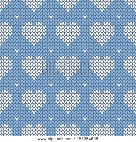 Tile knitting vector pattern with white hearts on blue background