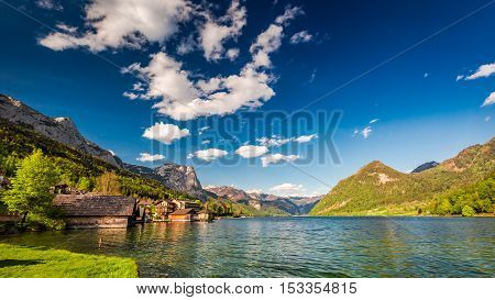 Beautiful Houses At The Lake In The Alps