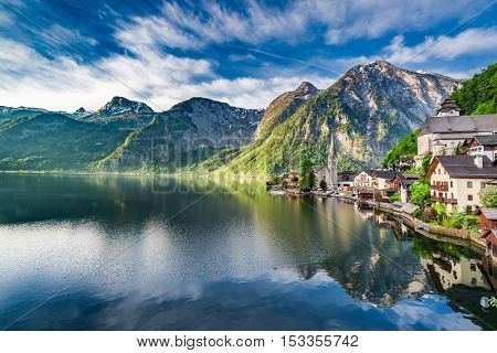 Wonderful Dawn At Mountain Lake In Hallstatt, Alps, Austria