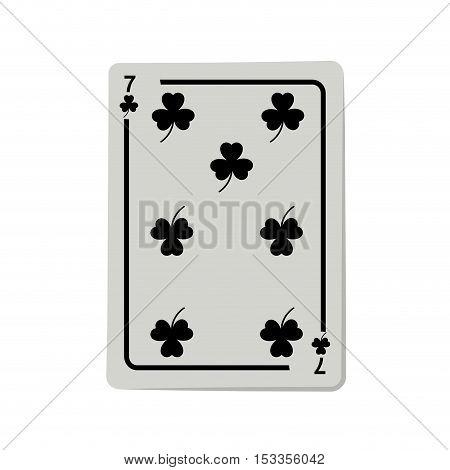 casino clover cards poker icon over white background.  gambling games design. vector illustration