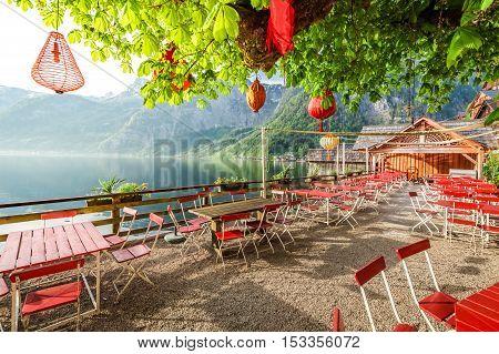 Sunrise In Hallstatt In A Small Restaurant, Alps, Austria