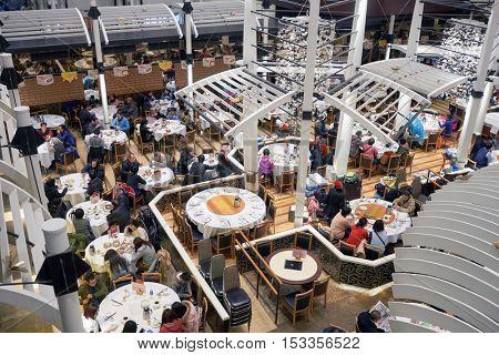HONG KONG - CIRCA JANUARY, 2016: restaurant at a shopping mall in Hong Kong. Hong Kong, is an autonomous territory on the southern coast of China at the Pearl River Estuary and the South China Sea.