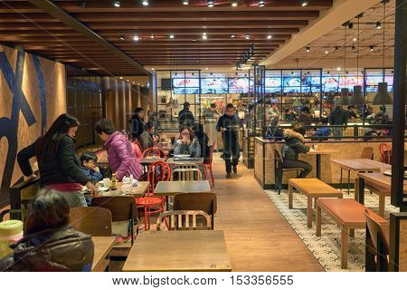 HONG KONG - CIRCA JANUARY, 2016: Maxim's MX2 restaurant. Maxim's Caterers Limited is Hong Kong's largest food & beverage corporation and restaurant chain.