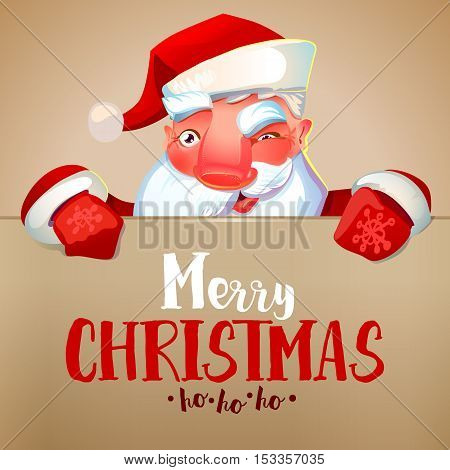 Happy Santa Claus looking out from behind the blank sign isolated on white background. Merry Christmas and ho-ho-ho greetings. Vintage colors. Vector illustrtaion.