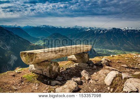 Bench In The Top Of The Loser Peak, Alps, Austria