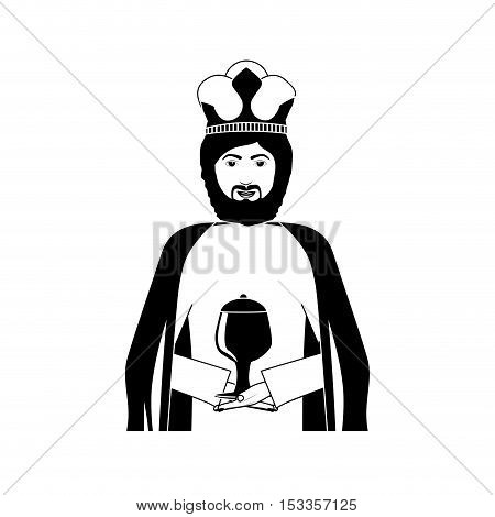 silhouette gambling king character icon over white background. vector illustration