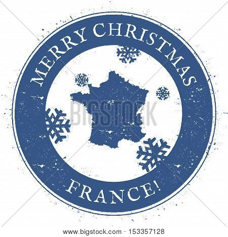 France Map. Vintage Merry Christmas France Stamp. Stylised Rubber Stamp With County Map And Merry Ch