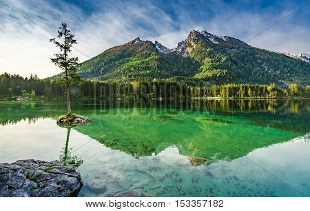 Stunning Sunrise At Hintersee Lake In Alps, Germany