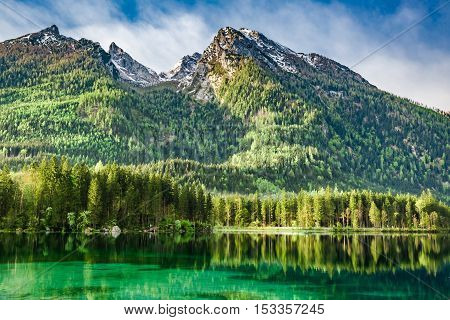 Beautiful Dawn At Hintersee Lake In Alps, Germany