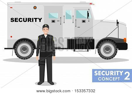 Detailed illustration of armored security car and security guard on white background in flat style.