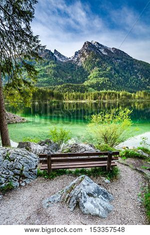 Wooden Bench At The Hitersee Lake In The Alps, Germany