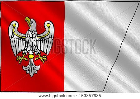 Flag of Greater Poland Voivodeship or Wielkopolska Province in west-central Poland. 3d illustration