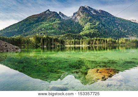 Wonderful Dawn At Hintersee Lake In Alps, Germany