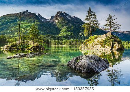 Summer Dawn At Hintersee Lake In Alps, Germany