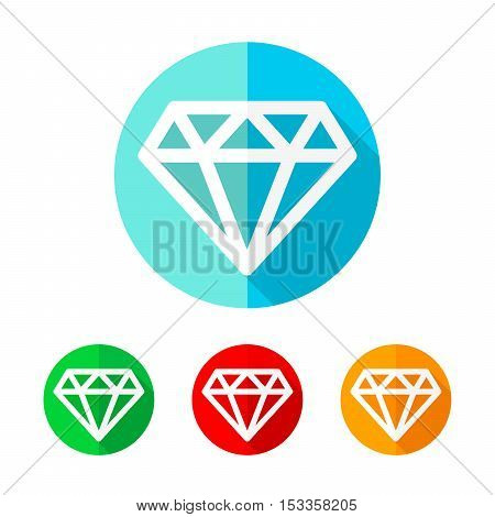 Set of colored diamond icons. White diamond with long shadow. Vector illustration. Diamond on the round button.