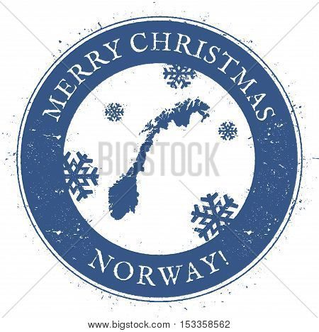 Norway Map. Vintage Merry Christmas Norway Stamp. Stylised Rubber Stamp With County Map And Merry Ch