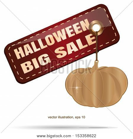 Halloween SALE. Halloween design. Gold pumpkin. Price tag with an inscription - Halloween big sale. Vector illustration