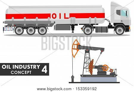 Detailed illustration of gasoline truck and oil pump in flat style on white background.
