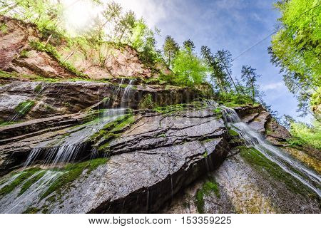 Wimbach Waterfalls In The Alps At Summer, Germany