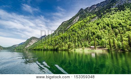 Lake Konigssee and forest in the German Alps