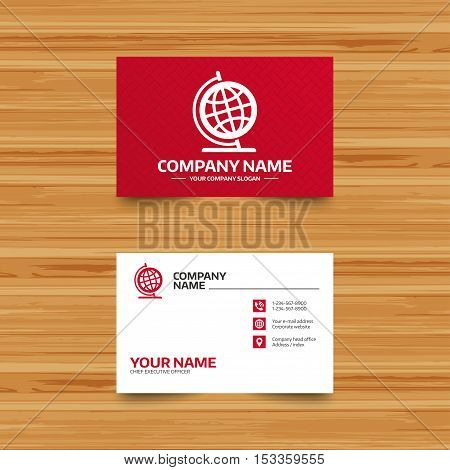 Business card template. Globe sign icon. Geography symbol. Globe on stand for studying. Phone, globe and pointer icons. Visiting card design. Vector