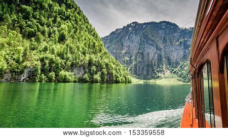 View From Boat On The Konigssee Lake In The Alps, Germany