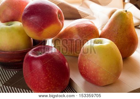 Autumn Harvest Of Apples And Pears Is Backlight