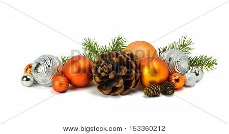 To create a festive mood: fir tree spheres bumps. Christmas arrangement isolated on white background.