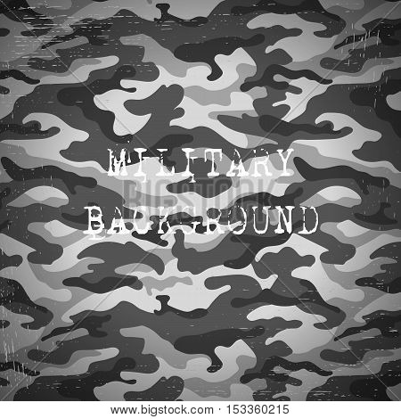 Military camouflage black and white background. Vector illustration