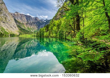 Beautiful View For Green Mountain Lake In Alps, Germany