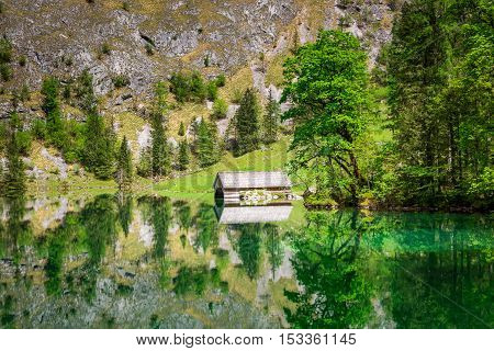 Mirror Image Of Alps In The Obersee Lake, Germany