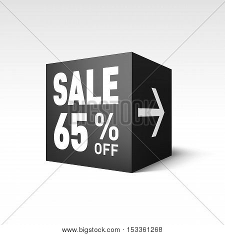 Black Cube Banner Template for Holiday Sale Event. Sixty-five Percent off Discount