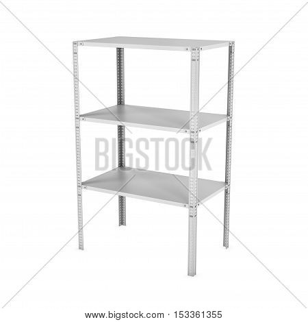 3d rendering of a three-storey light metal rack isolated on the white background. Storage furniture. Equipment for the retail stores. 3d modeling.