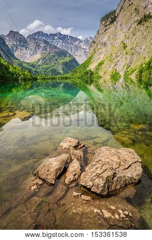 Rocky Shore Of Obersee Lake In Alps, Germany