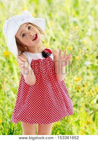 Joyful little girl in a very short polka dot dress and white Panama city beach , claps.Close-up.On blurred background of green grass with yellow flowers, the concept of a summer family vacation.