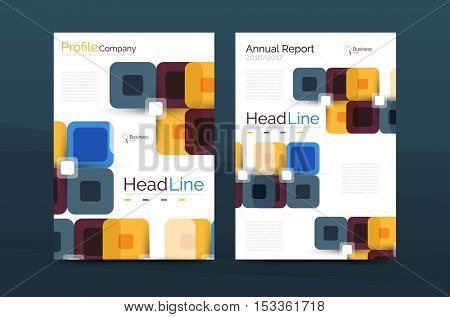 colorful square business annual report cover, brochure template