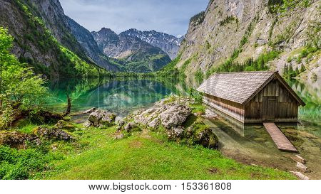 Little Hut At The Obersee Lake In German Alps