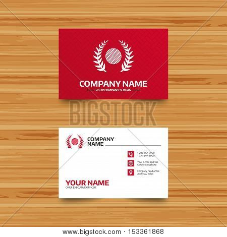 Business card template. Golf ball sign icon. Sport laurel wreath symbol. Winner award cup. Phone, globe and pointer icons. Visiting card design. Vector