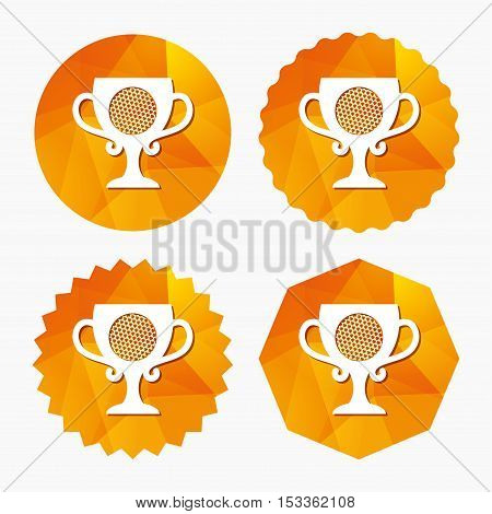 Golf ball sign icon. Sport symbol. Winner award cup. Triangular low poly buttons with flat icon. Vector