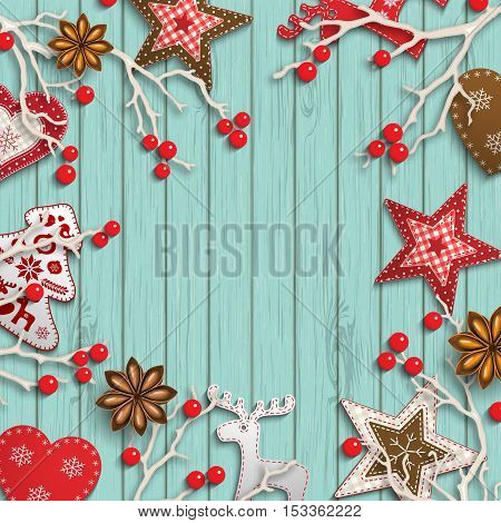 Abstract christmas background, dry branches with red berries and small scandinavian styled decorations lying on wooden desk, inspired by flat lay style, vector illustration, eps 10 with transparency