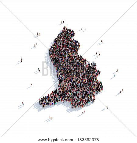 Large and creative group of people gathered together in the form of a map Liechtenstein, a map of the world. 3D illustration, isolated against a white background. 3D-rendering.