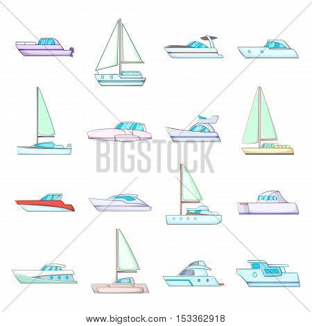Yachts icons set. Cartoon illustration of 16 yachts vector icons for web