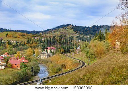 Colorful landscape with village and mountains. Carpathians, Ukraine. Vorokhta