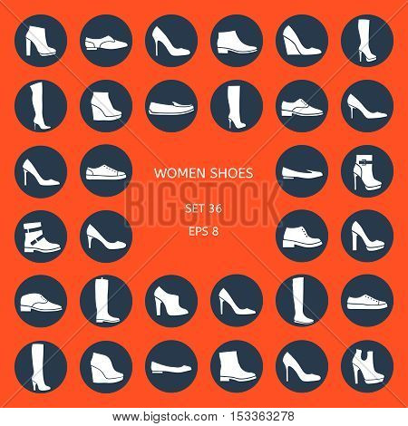 women's shoes on an orange background: boots, shoes, sneakers. Autumn and winter.