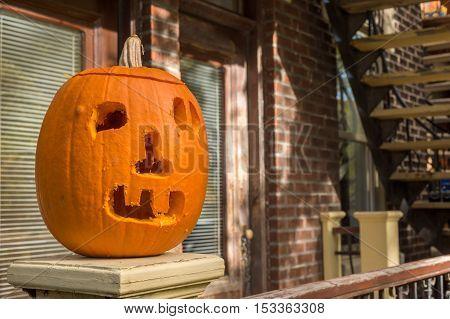 Carved pumpkin Jack-o-lantern halloween decoration in Montreal