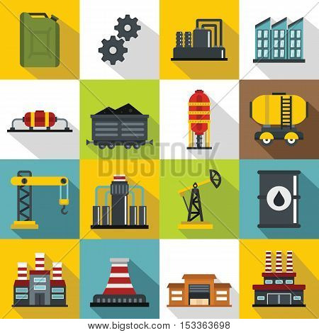 Industry icons set. Flat illustration of 16 industry vector icons for web