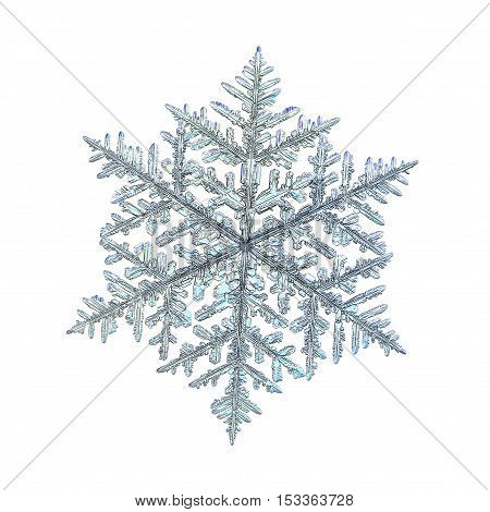 Snowflake isolated on white background. This is macro photo of real snow crystal: large fernlike dendrite with complex structure and ornate arms.