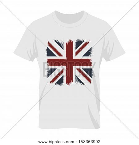 Vintage United Kingdom of Great Britain and Northern Ireland flag tee print vector design. Grunge Union Jack illustration. Premium quality London t-shirt wear emblem and logo concept mock up.