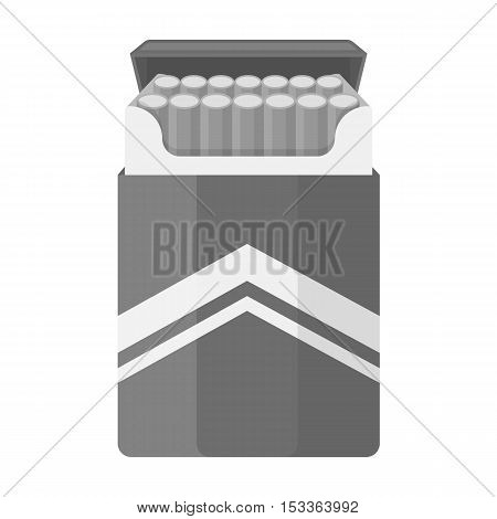 Pack of cigarettes icon in monochrome style isolated on white background. Drugs symbol vector illustration.